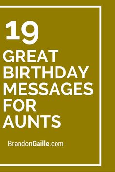 Some people may have been fortunate enough to have a close aunt that helped to provide guidance and care throughout their life. Aunts can almost become like second moms to their nieces and nephews. Happy Birthday Aunt From Niece, Birthday Greetings For Aunt, Birthday Quotes For Aunt, Birthday Card Messages, Birthday Verses, Diy Birthday, Birthday Gifts For Aunt, Birthday Sentiments, Sympathy Card Sayings