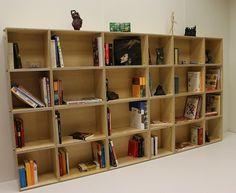 Estantería modular. Librería modular Plywood Shelves, Box, Shelving, Bookcase, Furniture, Home Decor, Modular Shelving, Homemade Home Decor, Shelves