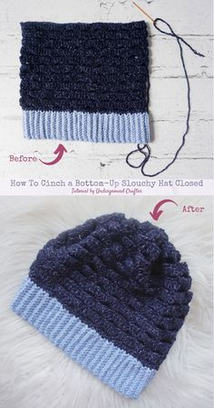 How To Cinch a Bottom-Up #Crochet Slouchy Hat Closed Tutorial by Underground Crafter   Make your hats cozier and slouchier using this simple tutorial for cinching slouchy hats closed. #undergroundcrafter Crochet Scarf Easy, Crochet Slouchy Hat, Crochet Cap, All Free Crochet, Knitted Hats, Crochet Stitches Patterns, Knitting Patterns, Hat Patterns, Yarn Tail