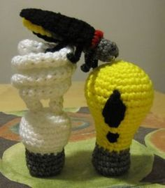 A pattern for a crochet CFL bulb, and a few finished objects related to lighting up.