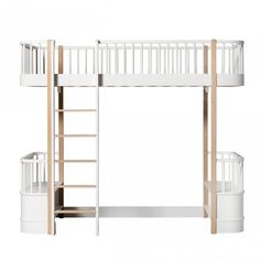 Oliver Furniture Wood Loft Bed with Front Ladder - in All White