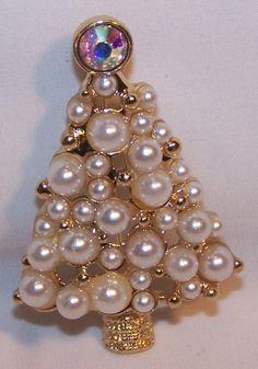 Vintage Style Faux Pearl Rhinestone Christmas Tree Pin New   eBay