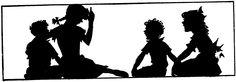 silhouette children boys girls sitting
