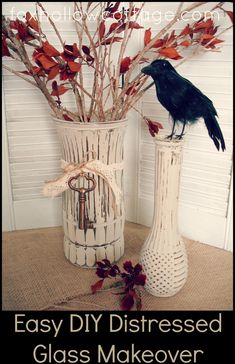 Easy DIY Fall Craft (Painted Distressed Glass Vase) #Fall #DIY #Craft #Makeover