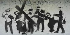 'Banksy or not, I like how the piece is put together: a mural of Jesus being chased by police and paparazzi. If you want to see it, it apparently is close to London Bridge.' - by Houke de Kwant