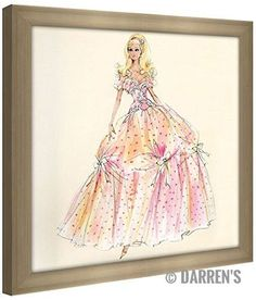 "Picture Perfect International Robert Best ""Birthday Wishes Barbie Doll"" Framed Fashion Wall Decor"