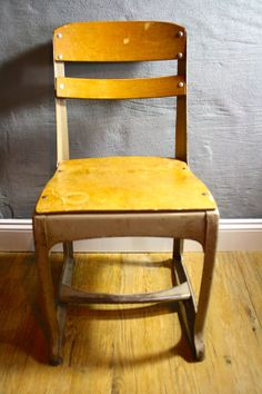 Vintage Industrial School Desk Chair by by LuckySevenVintage, $49.00 #vintage #industrial #luckysevenvintage