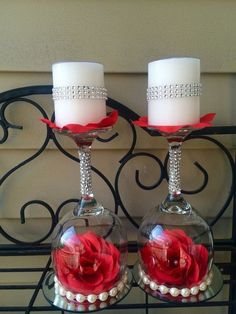 47 ideas wedding table candles and flowers wine glass for 2019 Wine Glass Centerpieces, Elegant Centerpieces, Wedding Centerpieces, Centerpiece Ideas, Wine Glass Candle Holder, Candle Holders, Valentine Decorations, Wedding Decorations, Table Decorations