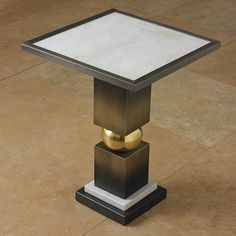 Global Views 9.92224 Industrial Loft Ombre Bronze And Brass Side Table With White Marble Top – Hudson Home Decor