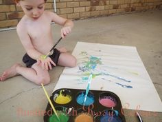 home-made toddler paint at Flushed with Rosy Colour