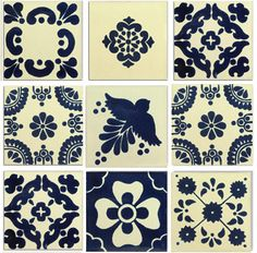 The Blue and White Mexican Talavera Tile Collection is one square foot (nine tiles) of lovely blue and creamy white traditional Talavera tiles in the most classic, recognizable Mexican designs. Talavera Pottery, Ceramic Pottery, Ceramic Art, Traditional Tile, Spanish Style Homes, Spanish Revival, Spanish Colonial, Spanish Tile, Mexican Designs