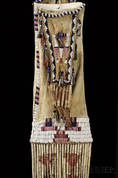Central Plains Beaded and Quilled Hide Pipebag, Arapaho