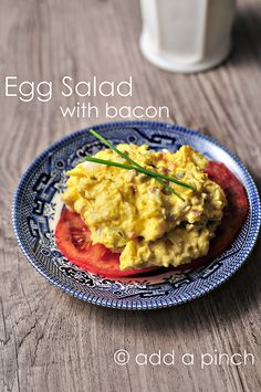 Egg Salad with Bacon Recipe from addapinch.com
