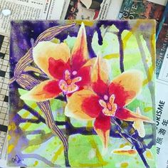 Orchids by Melanie Jacobs Mixed media on wrapped canvas Wrapped Canvas, Orchids, Mixed Media, Painting, Art, Craft Art, Paintings, Lilies, Kunst