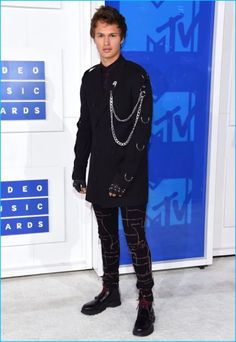 Ansel Elgort embraces a punk aesthetic in a black edgy look from Dior Homme for the 2016 MTV Video Music Awards.