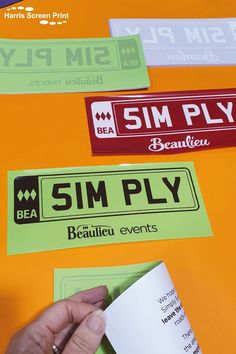 We print self cling parking window stickers for the Beaulieu Simply Events, held at Beaulieu in the New Forest. The large car windscreen parking passes cling to the inside of car windscreens, design facing outwards. The colours change each year to make them unique for each Beaulieu simply event, and these are the colours for the past two years. We also print text onto the backing sheet requesting drivers make extra efforts to drive carefully and respect the New Forest. Car Window Stickers, Color Change, Screen Printing, Windows, Respect, Prints, Colours, Unique, Design