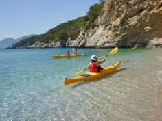 floating adventures in the big blue Kayak Tours, Pine Forest, Crystal Clear Water, Beautiful Islands, Greek Islands, Canoe, Athens, Kayaking, Summertime