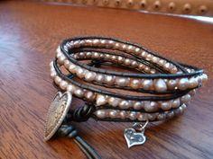 Valentine Freshwater Pearl Triple Wrap Bracelet by Runwraps, $70.00