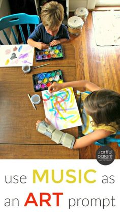 A Music Activity for Kids :: Using Music as an Art Prompt This music activity for kids helps them listen closely then invites them to create art in response to and while listening to the music. via Artful Parent Music Lessons For Kids, Music For Kids, Good Music, Art For Kids, Piano Lessons, Art Lessons, Preschool Music Activities, Creative Activities, Movement Activities