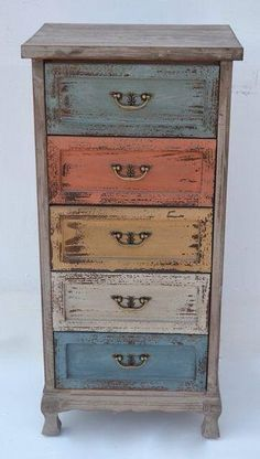 Chest of drawers - Diy Vintage Möbel Funky Painted Furniture, Decoupage Furniture, Distressed Furniture, Refurbished Furniture, Paint Furniture, Repurposed Furniture, Rustic Furniture, Furniture Makeover, Vintage Furniture