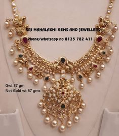 Stunning Gold Necklace From Sri Mahalakshmi Gems And Jewellers ~ South India Jewels Gold Earrings Designs, Gold Jewellery Design, Necklace Designs, Bridal Jewellery, Gold Jewelry Simple, Schmuck Design, Gold Necklace, Short Necklace, Choker Necklaces