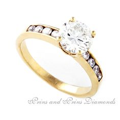 Centre stone is a round brilliant cut diamond with round brilliant cut diamonds channel set diamonds set in yellow gold Thing 1, Diamond Engagement Rings, Centre, Gold Rings, Channel, Diamonds, Stones, Sparkle, Rose Gold
