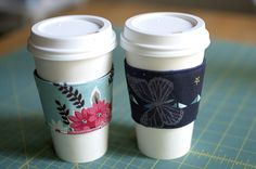 """I've recently been searching all over the internet for a coffee sleeve tutorial. I like """"coffee sleeve,"""" but it seems like these sleeves can be called any number of things: cozy, coozie, koozie. ..."""