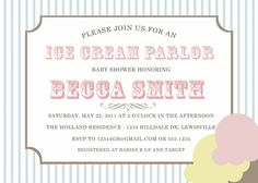 custom baby and bridal shower invitation  ice cream by westwillow, $15.00