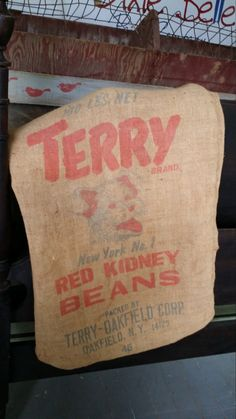 Burlap Feed Sack - Terry Brand Red Kidney Beans - 100 pound sack by BabyBAntiques on Etsy