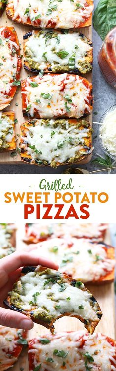 Wow the fam with these amazing grilled sweet potato pizzas! All you need is sweet potatoes, your favorite marinara sauce or pesto, mozzarella, and your favorite pizza toppings for this healthy 30 minute meal.