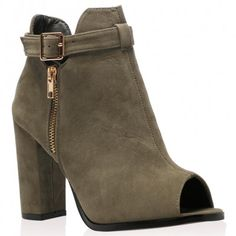 Vicky Ankle Boots In Khaki Faux Suede
