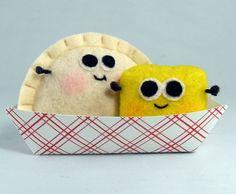 Pierogi and butter plush felt food toys by ByBeeps on Etsy,