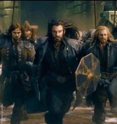 Shedding their armor Thorin and his Dwarves charge out of Erebor, joining Thranduil and Dain as they battle Azog's forces.