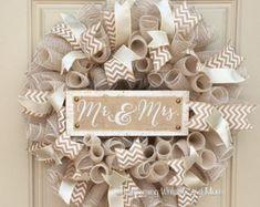 White Rose Wedding Door Wreath Grapevine Wreath Bridal | Etsy