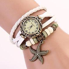 Frauen runden Zifferblatt Multi-Layer-Band Seestern Anhänger Quarz analog Armbanduhr (Farbe sortiert) – CAD $ 7.27