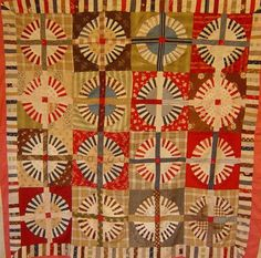 wagon wheel quilt inspiration for mosaic Old Quilts, Antique Quilts, Vintage Quilts, Antique Wagon Wheels, Art Tribal, Circle Quilts, Quilt Modernen, Traditional Quilts, Rug Hooking
