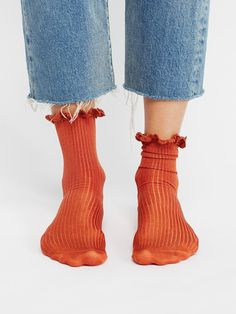 Deep Brick Bryant Heather Ankle Sock at Free People Clothing Boutique