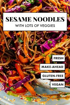 These sesame noodles are extra delicious, thanks to all the colorful vegetables. This recipe is healthy and easy to prepare—perfect for bringing to get-togethers! It's vegetarian/vegan and easily gluten free. #sesamenoodles #potlucks #healthyrecipe #cookieandkate Vegan Gluten Free, Vegan Vegetarian, Vegetarian Recipes, Healthy Recipes, Healthy Eats, Vegetarian Options, Vegan Food, Healthy Foods, Easy Recipes