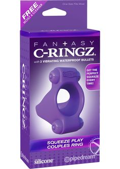 FCR-SQEEZE PLAY COUPLES RING PURPLE - Double the pleasure and double the fun, two vibrating bullets are better than one! The Squeeze Play Couples Ring will give you the perfect squeeze to perform like a pro, last longer than ever before, and stimulate both of you with incredible vibrations. With a vibrating bullet on the top and bottom of the ring, both partners will be amazed by the incredible sensations! The powerful vibrations will tickle and tease her clit and turn his penis into an…