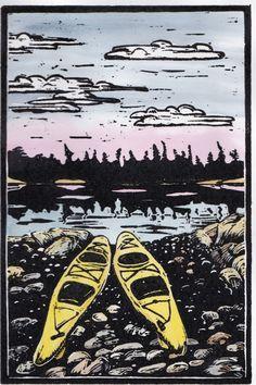 Two Kayaks Hand Pulled Linoleum Block Print by ColorOnPaper, $50.00