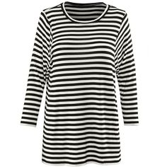Bistro Tee cabi ❤ liked on Polyvore featuring tops, t-shirts, stripe t shirt, white top, scoop neck t shirt, white scoop neck t shirt and white tee