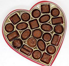 Caramel, Peanut butter, Coconut,Dark truffle, Pecan, Hazelnut, Nougat, Toffee... I love chocolate boxes every Valentine's Day
