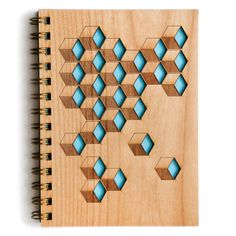 Cubes Wooden Journal, Pattern Journal by Cardtorial on Etsy https://www.etsy.com/listing/205363064/cubes-wooden-journal-pattern-journal