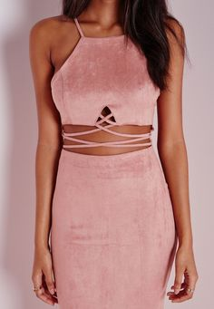 Missguided - Faux Suede Cross Front Midi Dress Pink