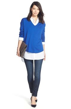 Trouvé Sweater, Shirt & Hudson Jeans Skinny Jeans available at #Nordstrom