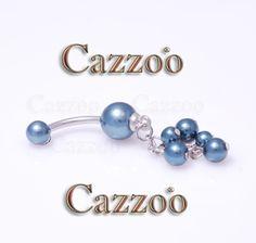 NP961 Navlepiercing med vedh�ng navle piercing med perlemor sk�r flot til din navle fra cazzoo piercing