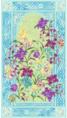 "Garden Rendezvous - Iris Abundance - 24"" x 44"" PANEL - Quilt Fabrics from www.eQuilter.com"