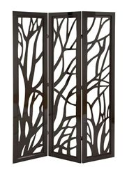 6ft Tall Wooden Carved Out Tree Branch Folding Screen