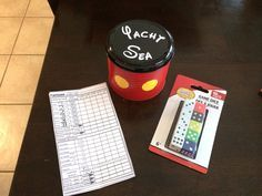 """""""Yacht Sea"""" game for Fish Extender gift on Disney Cruise. Metal tin from Dollar Spot at Target. Spray painted, added vinyl buttons and lettering. Dice from Dollar Tree. Printed score cards from internet!  Easy Peasy!!"""