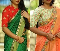 Looking for high neck blouse designs for your silk sarees ? Here are our picks of 12 blouse ideas that you wear with any silk sarees! Blouse Back Neck Designs, Black Blouse Designs, High Neck Blouse, Bridal Blouse Designs, Black Silk Blouse, Yellow Blouse, Kerala Saree Blouse Designs, Big Thing, Beautiful Blouses